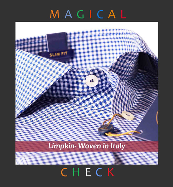 HELSINKI- NAVY & WHITE GINGHAM CHECK- REGULAR/SLIM FIT