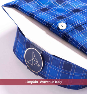 Men's shirt in magical royal blue check - Limpkin Shirts