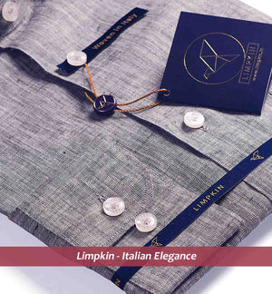 Grey Pure Linen Shirts For Men - Limpkin