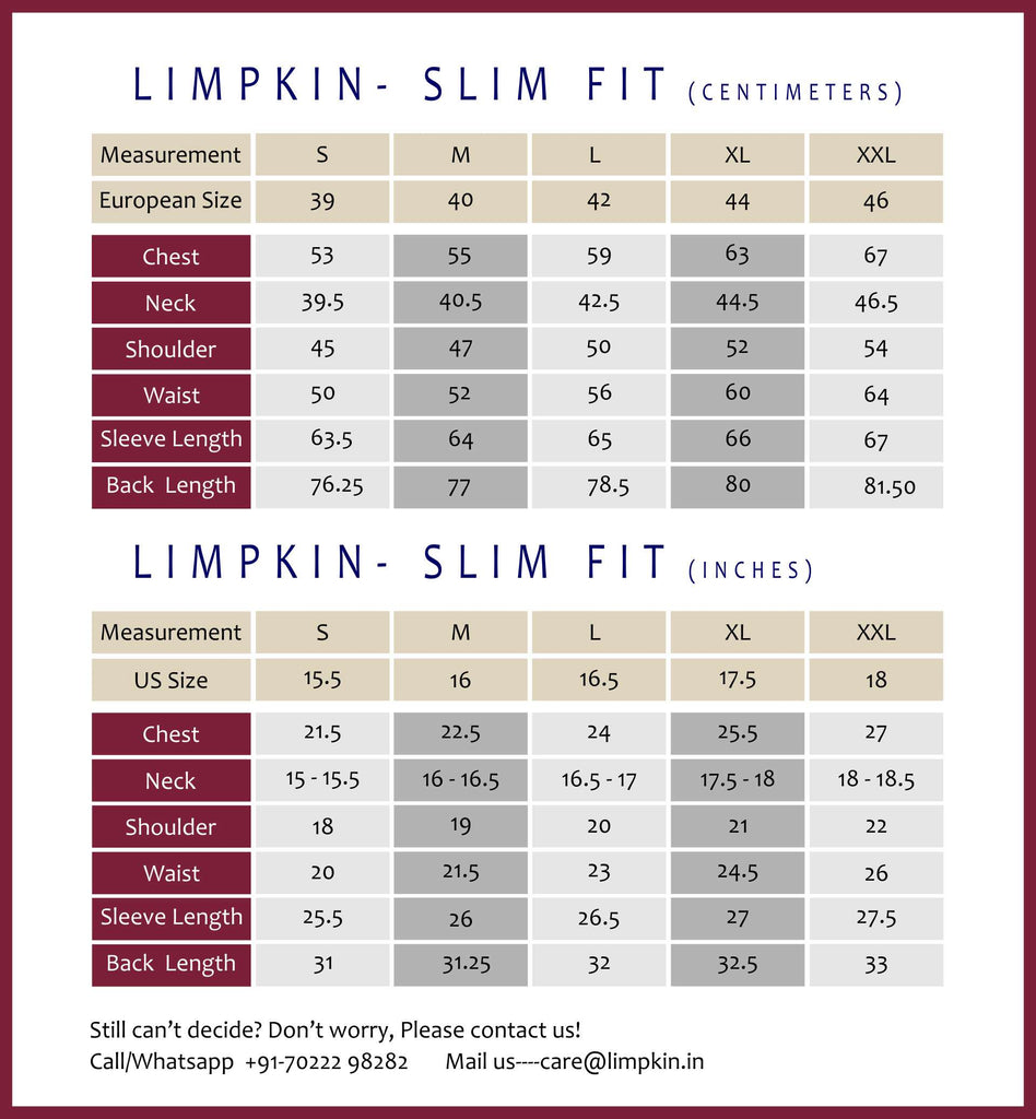 Limpkin- Slim Fit- Chart
