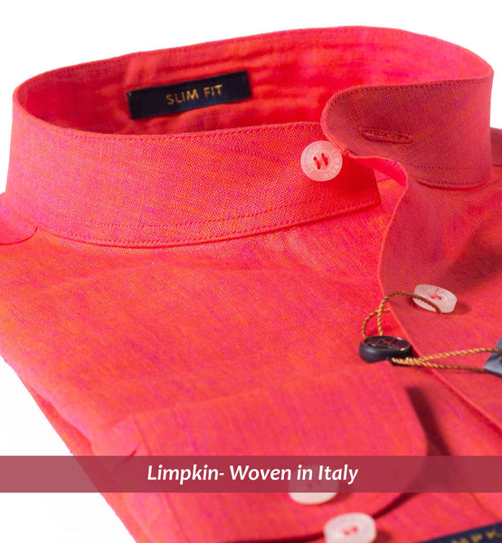 VAGATOR- CORAL RED PURE LINEN IN 60's LEA- SLIM FIT