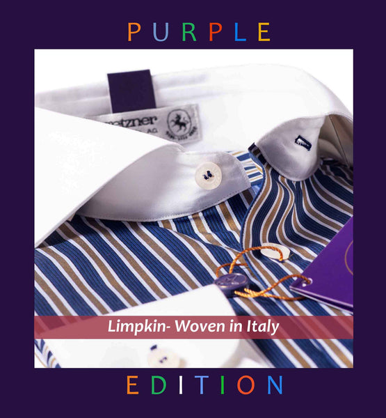 MALTA- NAVY & BEIGE STRIPE WITH WHITE COLLAR- PURPLE EDITION