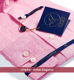 Pink Pure Linen Shirts For Men - Limpkin