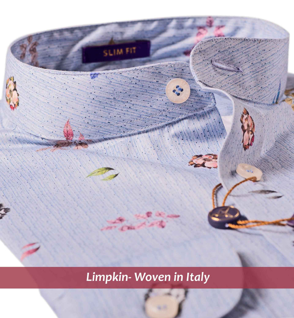 SIROLO- SKY BLUE WITH DOTTED & FLORAL PRINT- SLIM/REGULAR FIT