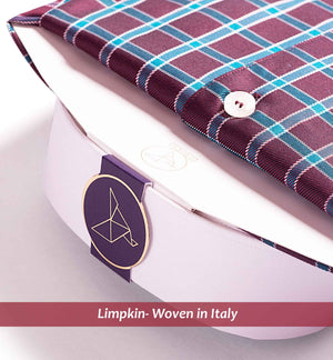 shirt in Magical Burgundy & Teal Check pattern with white collar - Limpkin Shirts