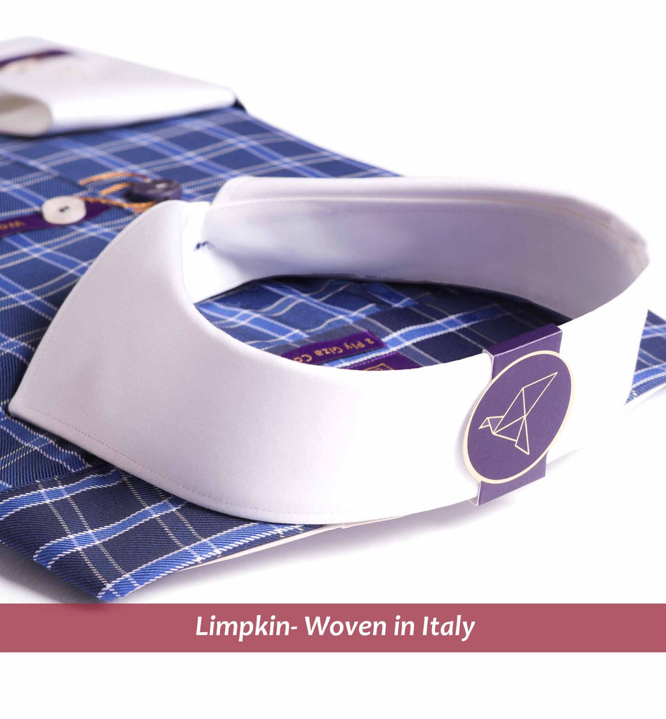 CYPRUS- NAVY CHECK WITH WHITE COLLAR- PURPLE EDITION