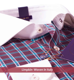 Monaco-Burgundy Check & White Collar-Buy Online Shirts- Woven In Italy