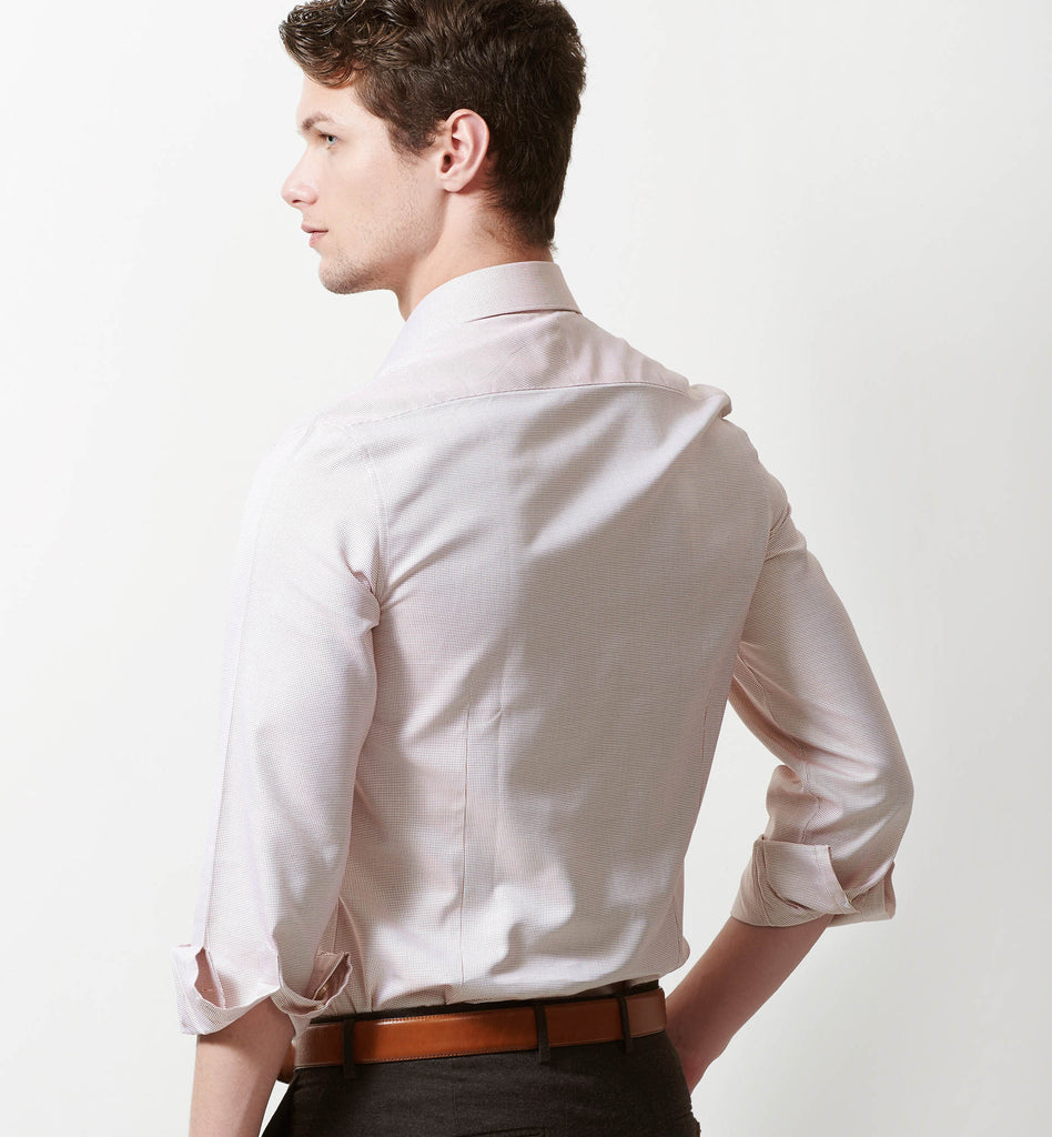 Slim fit shirt with orange micro structure pattern - Limpkin