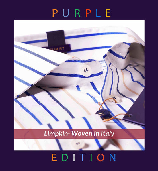 POLAND- BLUE & BEIGE CANDY STRIPE- PURPLE EDITION