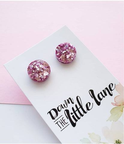 """Medium Moon Studs"" in Lilac glitter - Down The Little Lane"