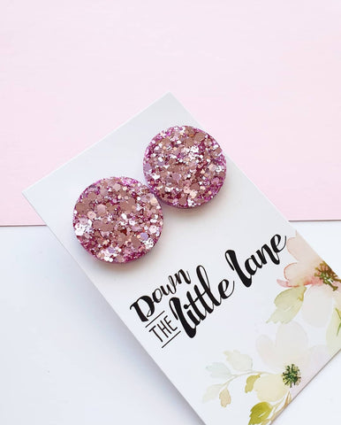 """Mega Moon Studs"" in Lilac glitter - Down The Little Lane"