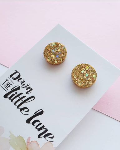 """Medium Moon Studs"" in Gold glitter - Down The Little Lane"