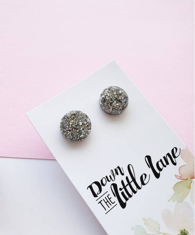 """Medium Moon Studs"" in Silver Foil glitter - Down The Little Lane"