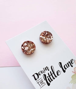 """Medium Moon Studs"" in Champagne glitter - Down The Little Lane"