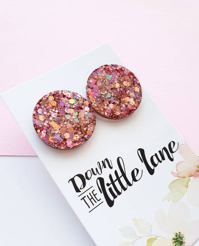 """Mega Moon Studs"" in Party Pink glitter - Down The Little Lane"