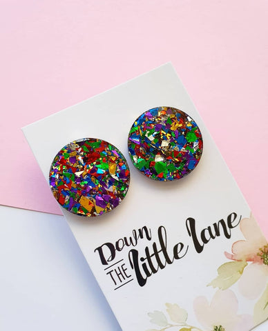 """Mega Moon Studs"" in Rainbow Foil glitter - Down The Little Lane"