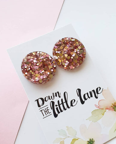 """Mega Moon Studs"" in Blush and gold glitter - Down The Little Lane"