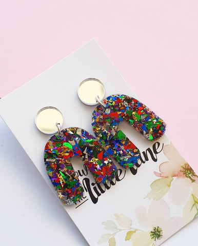 """U Turn"" Rainbow flakes with SILVER stud top - Down The Little Lane"
