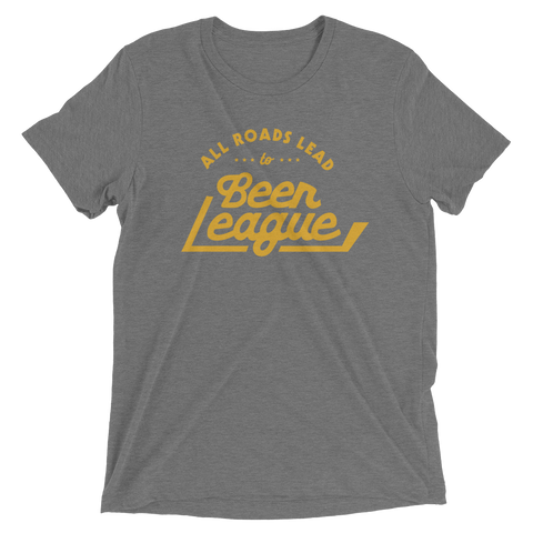 All Roads Lead To Beer League T (Gray/Yellow)