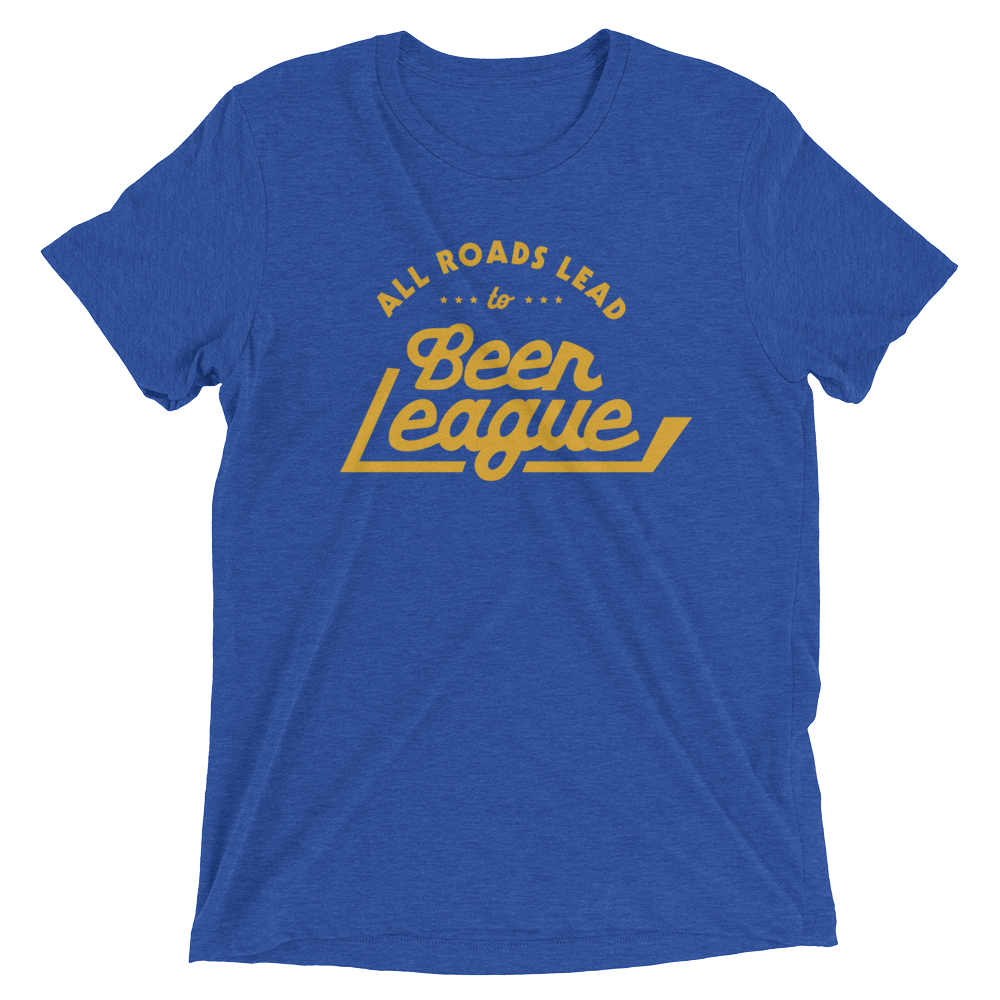 All Roads Lead To Beer League T (Royal Blue/Yellow)