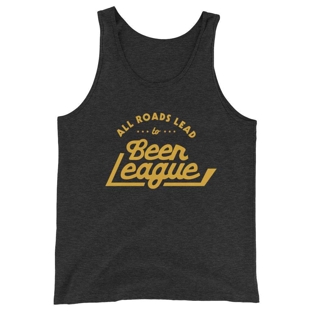 All Roads Lead To Beer League Tank Top (Black & Gold)