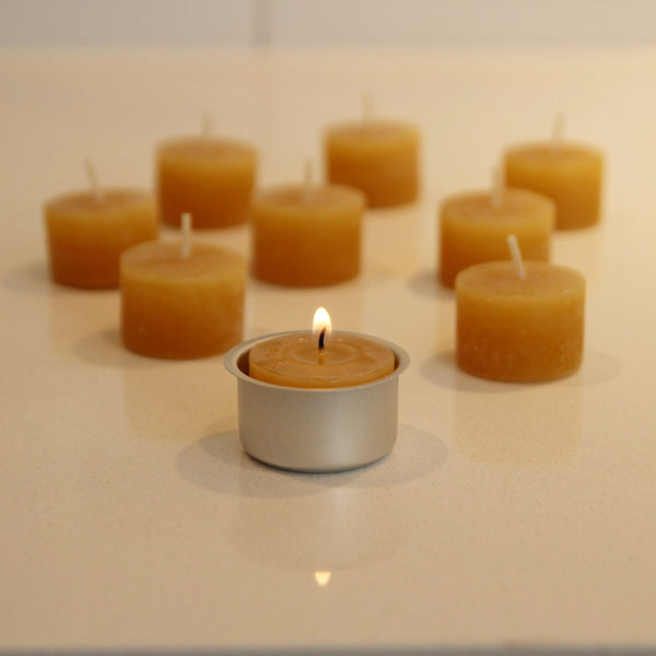 Beeswax tealight candles - set of 9