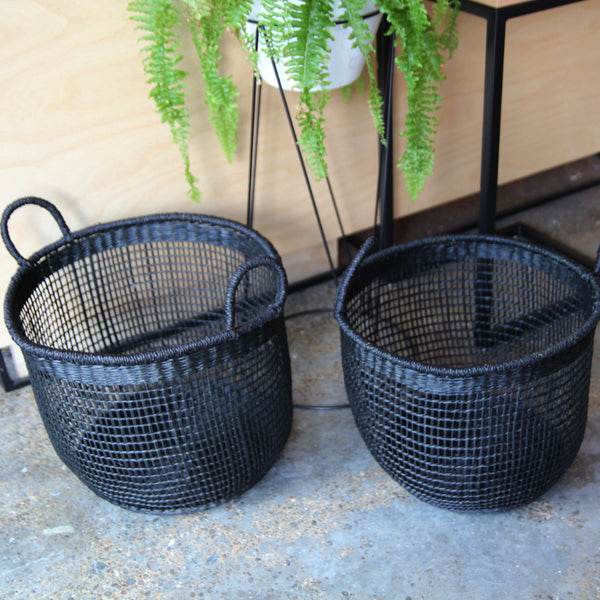 Seagrass basket black large