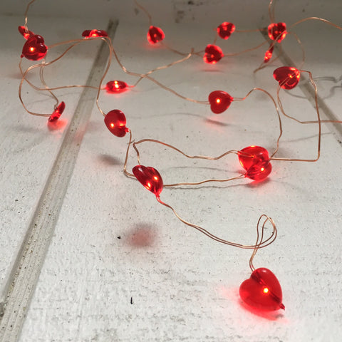 Seed lights - 3m red hearts