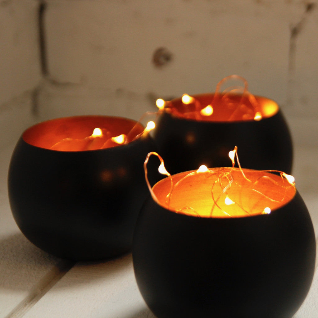 Moroccan black and copper votive