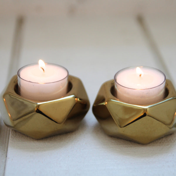Lumiere gold tealight holders x 2