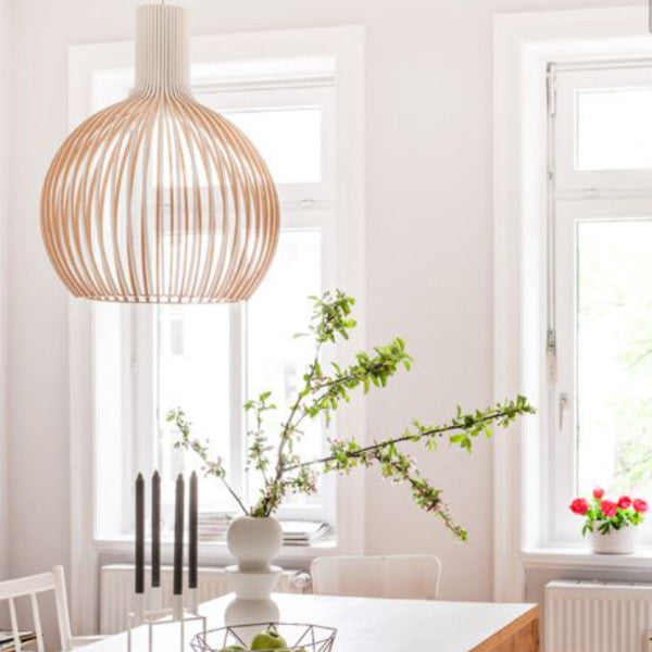 Scandinavian wooden lamp - bell