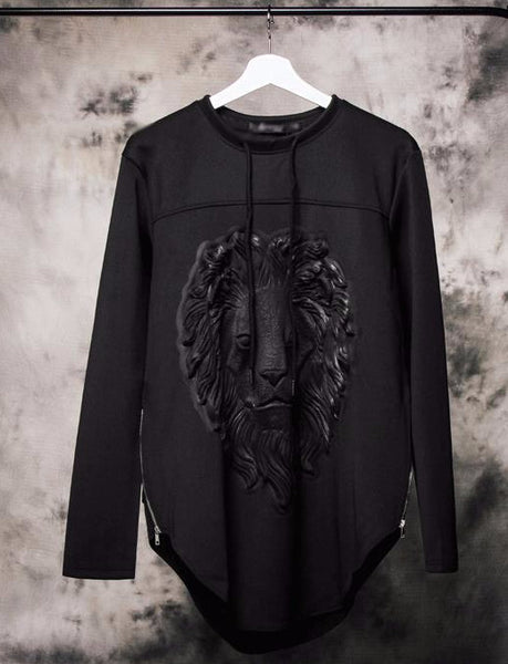 Embossed Graphic Tee - Long Sleeved Black Lion