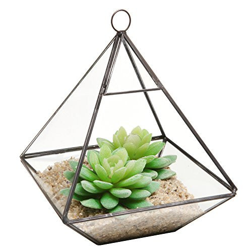 Hanging Clear Glass Prism Air Plant Terrarium / Tabletop Succulent Planter / Tea Light Candle Holder