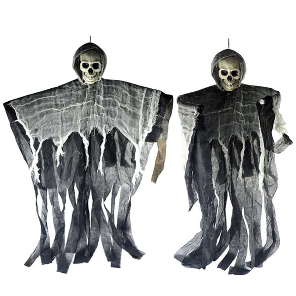 Creepy Hanging Scarecrow Skull for Halloween House Decoration