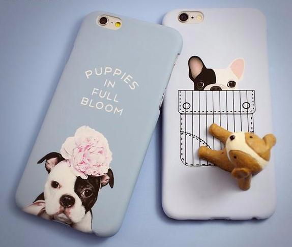 Blue Phone Cover for Dog Lovers - Puppies in Full Bloom