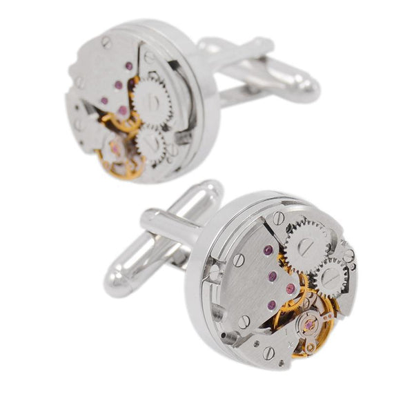 Fashionable Cufflinks for Men - Round Clockwork *3 Variants*