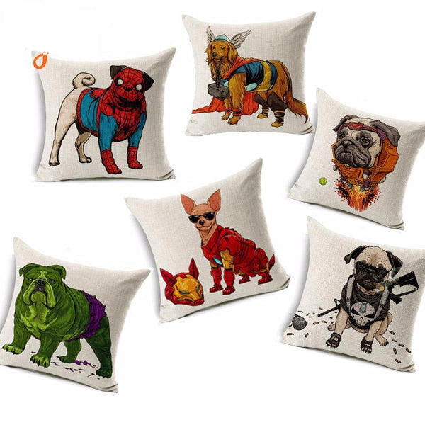 Cushion Covers for Dog Lovers - Superheroes *11 Variants*