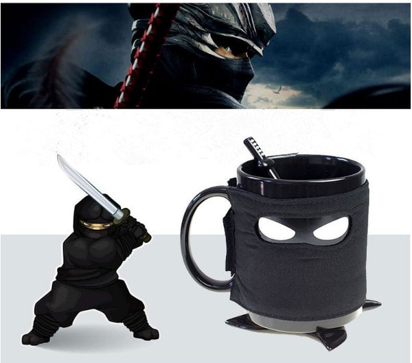 Creative Ninja Mug With Sword Spoon & Shuriken Coaster For Ninja Lover