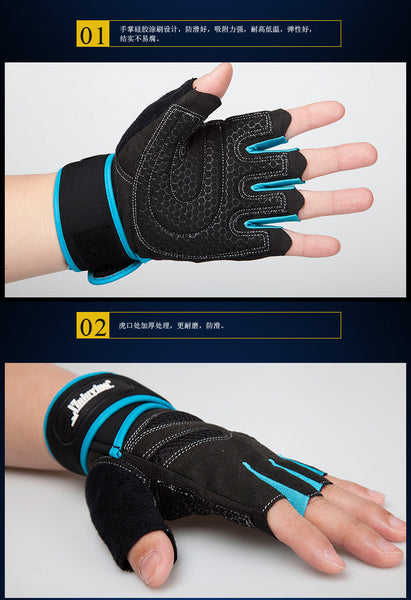 Protective Weight Lifting Gym Gloves *Extra Long Wrist Wrap* 2 Colors*