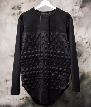 Embossed Graphic Tee - Long Sleeved Black