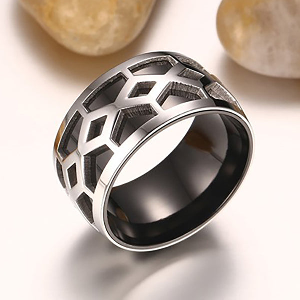 Black Stainless Steel Rings with Unique Pattern