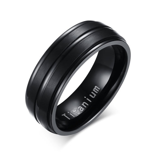 Famous Titanium Men's Ring with Triple Bold Stripe *5 Variants*