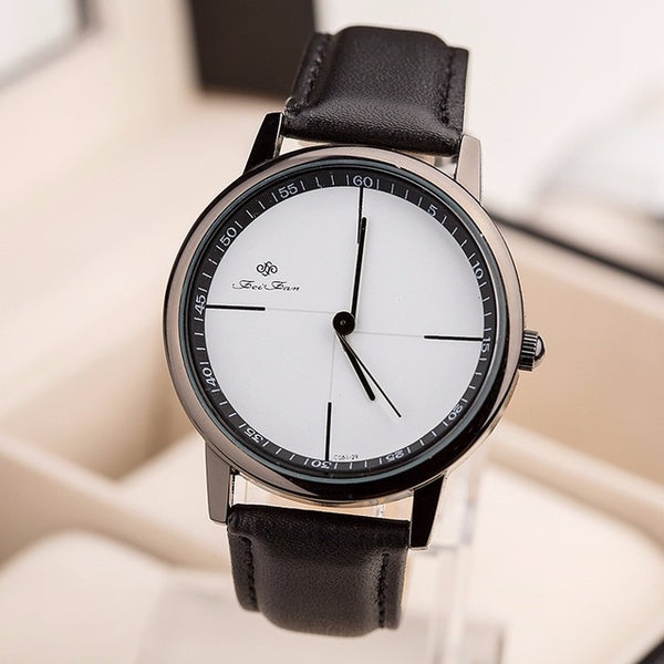 Simple Style Watches Men Women Leather Strap Quartz-watch 2016 Fashion FEIFAN Brand Black White Wristwatches Quartz Watch Gifts