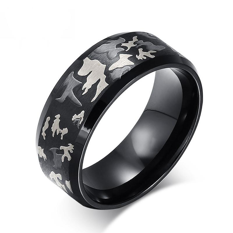Unique Gray Camouflage Stainless Steel Rings for Active Men