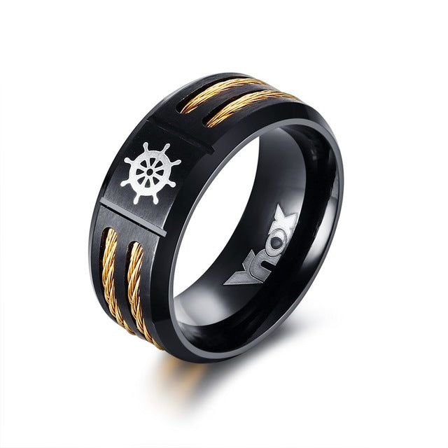 Double Color Men's Ring with Rudder *2 Variants*