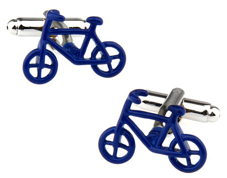 Fun Cufflinks for Men - Blue Bikes