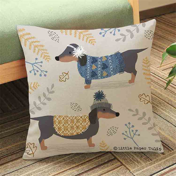Colourful Dachshund Dog Cushion Cover *5 Variants*