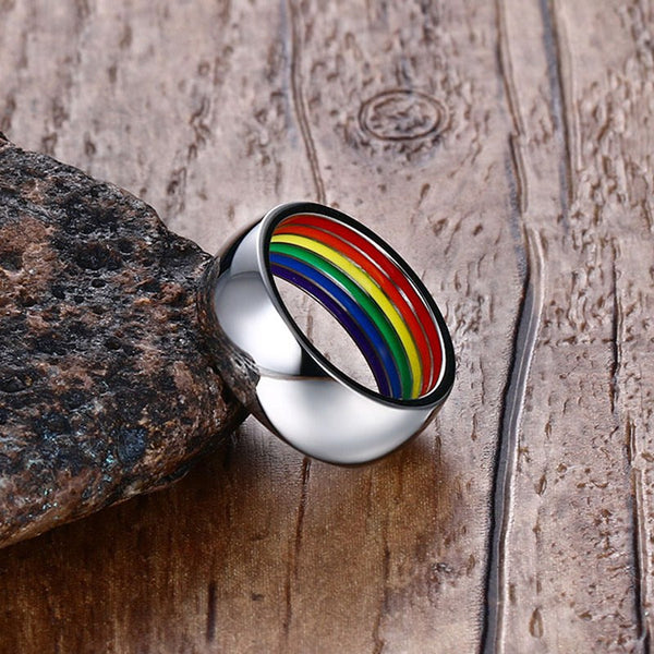 Modern Stainless Steel Men's Ring with Inner Colorful Rainbow for LGBT Friends