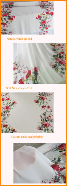 White Soft Chiffon Printed with Beautiful Flowers *148cm(w)* (PENDING)