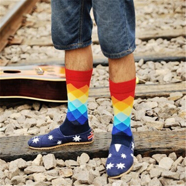 Classic Colorful Argyle Happy Socks for Men *6 pairs/ lot*